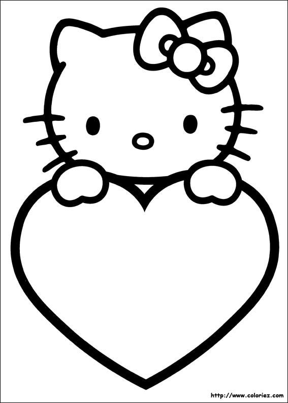 Coloriage et dessins gratuits St-Valentin Hello Kitty à imprimer