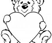 Coloriage St-Valentin Ours et Amour