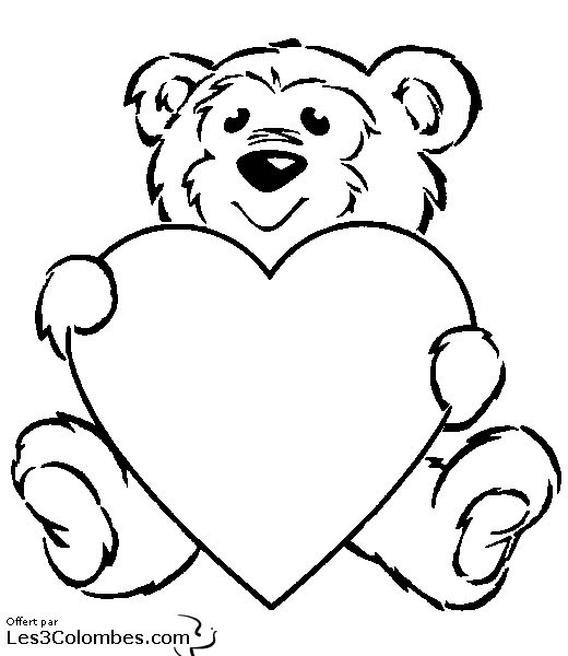 Coloriage et dessins gratuits St-Valentin Ours et Amour à imprimer