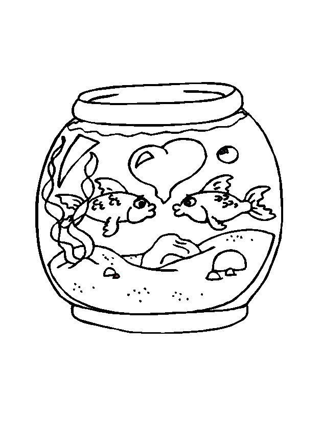 Coloriage et dessins gratuits St-Valentin Poissons à imprimer