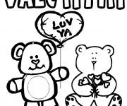 Coloriage et dessins gratuit St-Valentin pour enfant à imprimer