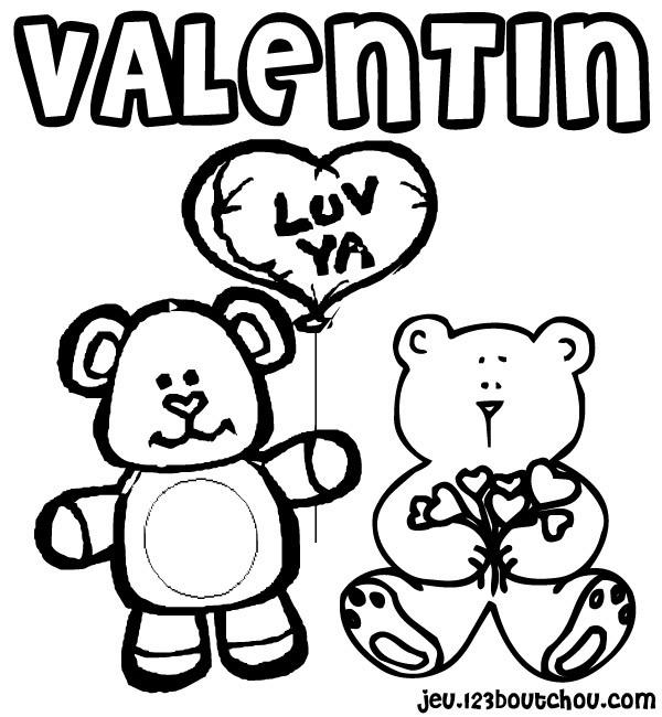 Coloriage et dessins gratuits St-Valentin pour enfant à imprimer