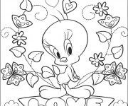 Coloriage St-Valentin Tweety Amour
