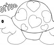 Coloriage et dessins gratuit Tortue décorée avec des Coeurs à imprimer