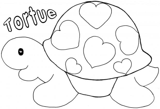 Coloriage et dessins gratuits Tortue décorée avec des Coeurs à imprimer