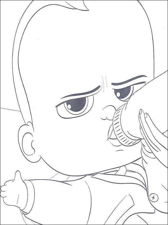 Coloriage et dessins gratuits Bébé Boss bois son biberon à imprimer