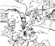 Coloriage Le village des Schtroumpfs