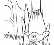 Coloriage Les trolls Branche est grincheux