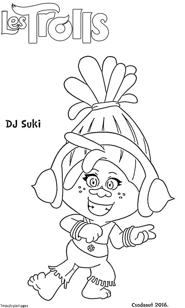 Coloriage et dessins gratuits Les trolls DJ Suki à imprimer