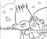 Coloriage Les trolls Poppy et Branche