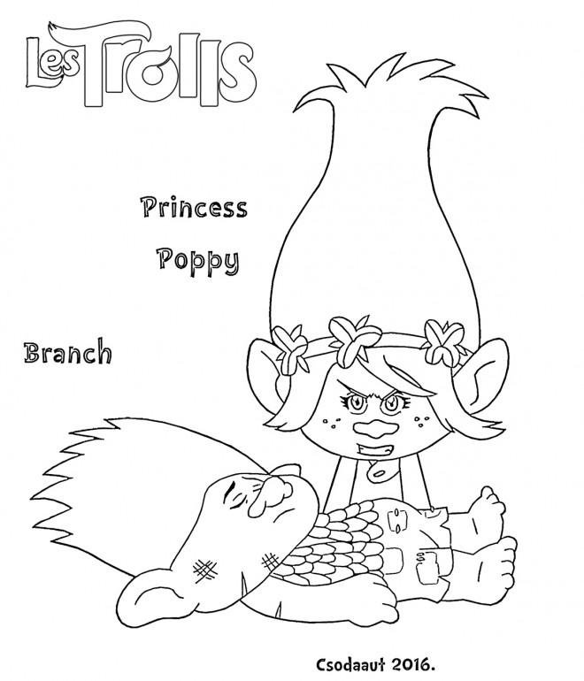 Coloriage Les Trolls Princesse Poppy Dessin Gratuit à Imprimer