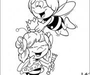 Coloriage et dessins gratuit Abeille Maya et sa meilleur amie à imprimer