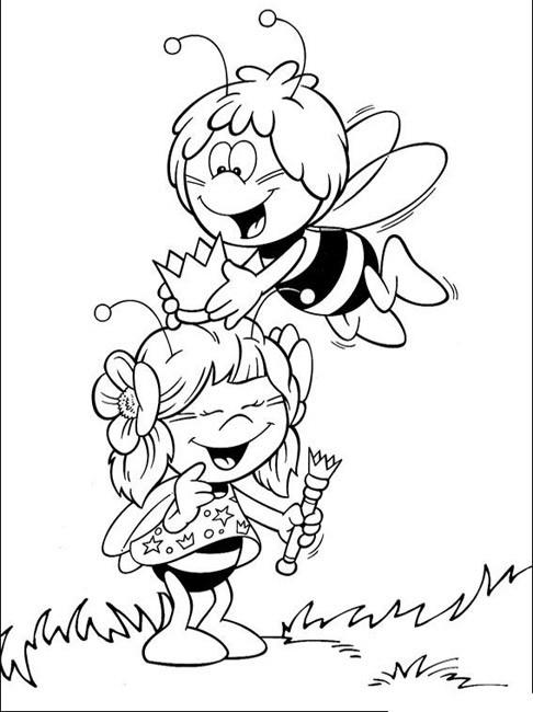 Coloriage et dessins gratuits Abeille Maya et sa meilleur amie à imprimer