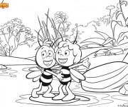 Coloriage et dessins gratuit Abeille Maya et son ami à imprimer