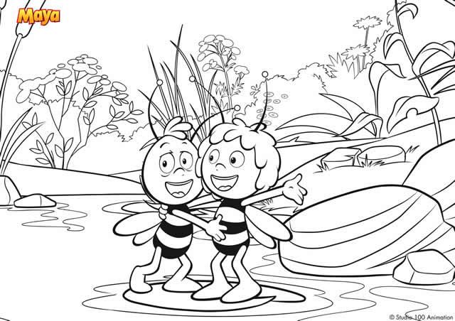 Coloriage et dessins gratuits Abeille Maya et son ami à imprimer