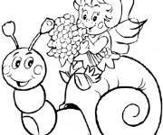 Coloriage et dessins gratuit Abeille Maya sur l'escargot à imprimer