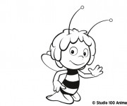 Coloriage Abeille Maya te salue