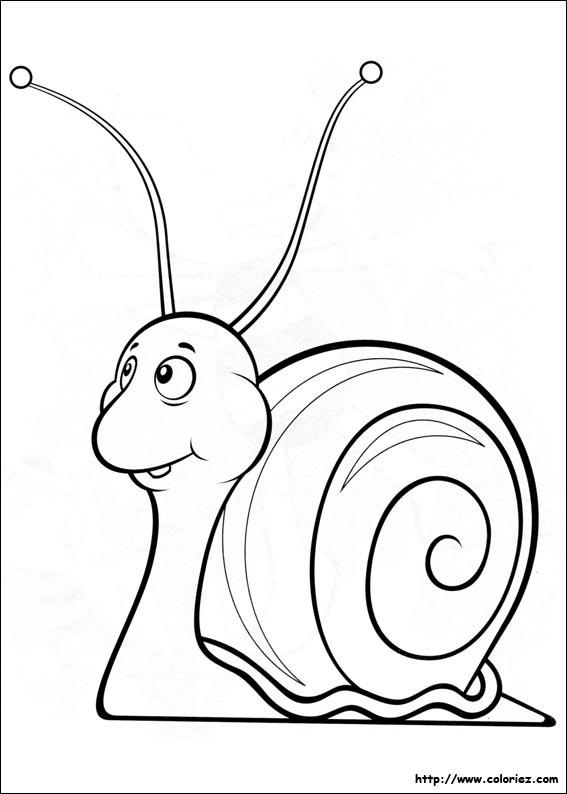 Coloriage et dessins gratuits L'escargot dessin animé à imprimer