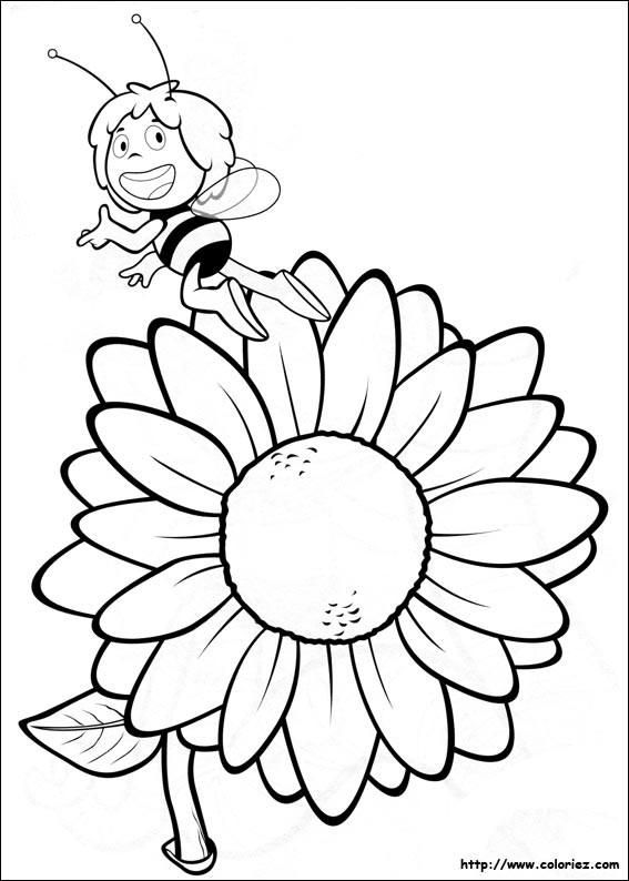 Coloriage Maya Et La Fleur Stylisé Dessin Gratuit à Imprimer