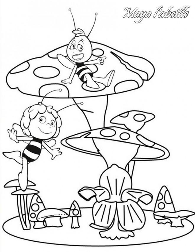Coloriage et dessins gratuits Maya et Willy sur les champignons à imprimer