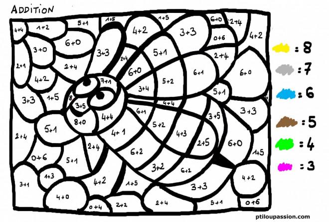 Coloriage addition magique abeille dessin gratuit imprimer - Coloriage magique en ligne ...