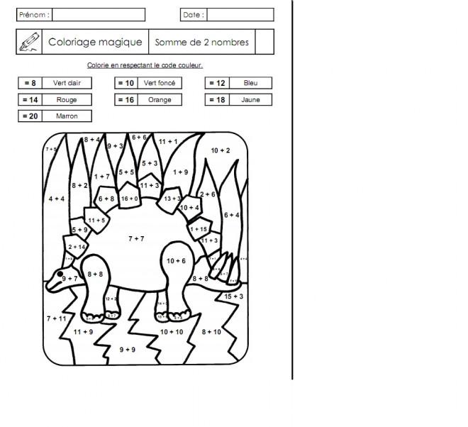 Coloriage Addition Magique Dinosaure Dessin Gratuit à Imprimer