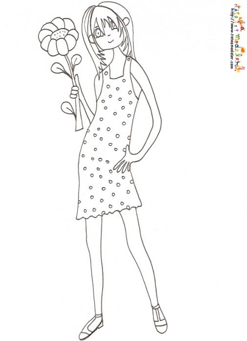 Coloriage et dessins gratuits Ado Fille à imprimer