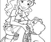 Coloriage et dessins gratuit Ado Fille et Chien à imprimer