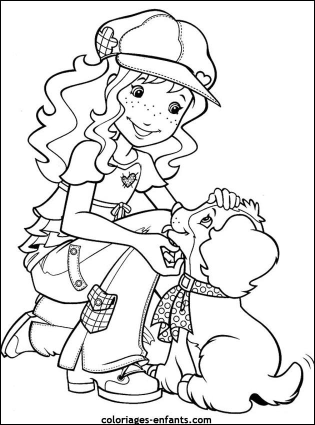 Coloriage et dessins gratuits Ado Fille et Chien à imprimer