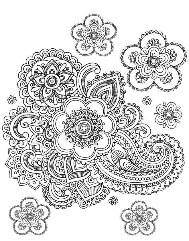 Coloriage et dessins gratuits Adulte Anti-Stress avec fleurs à imprimer