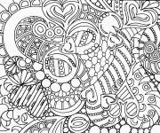 Coloriage et dessins gratuit Adulte Anti-stress Coeurs stylisé à imprimer