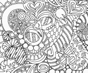 Coloriage Adulte Anti-stress Coeurs stylisé