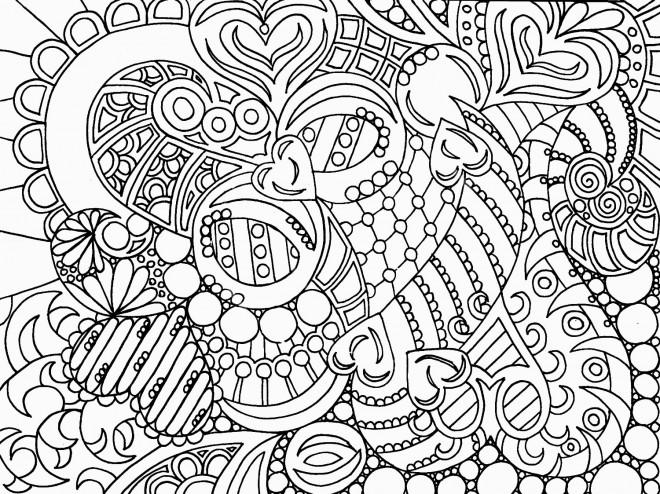 Coloriage et dessins gratuits Adulte Anti-stress Coeurs stylisé à imprimer