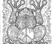 Coloriage Adulte Anti-stress Grenouille Fleuri