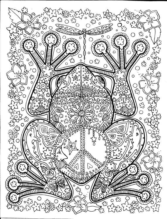 Coloriage et dessins gratuits Adulte Anti-stress Grenouille Fleuri à imprimer