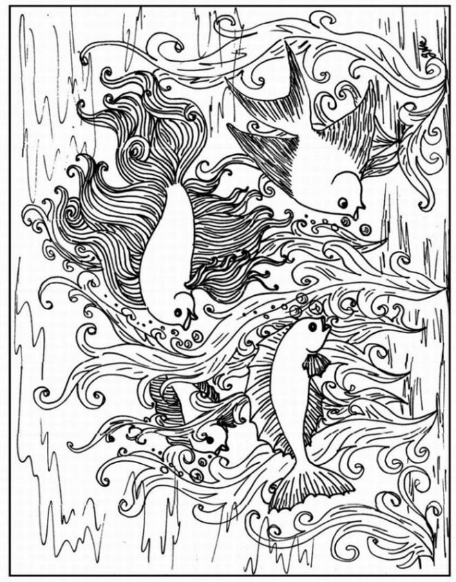 Coloriage et dessins gratuits Adulte Anti-stress Poissons exotiques à imprimer