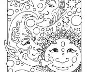Coloriage Difficile Planètes et Étoiles