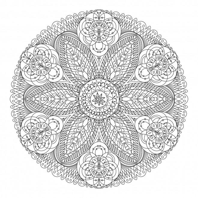 Coloriage mandala anti stress dessin gratuit imprimer - Mandala beau et difficile ...