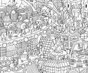 Coloriage et dessins gratuit Psychédélique Ville à imprimer