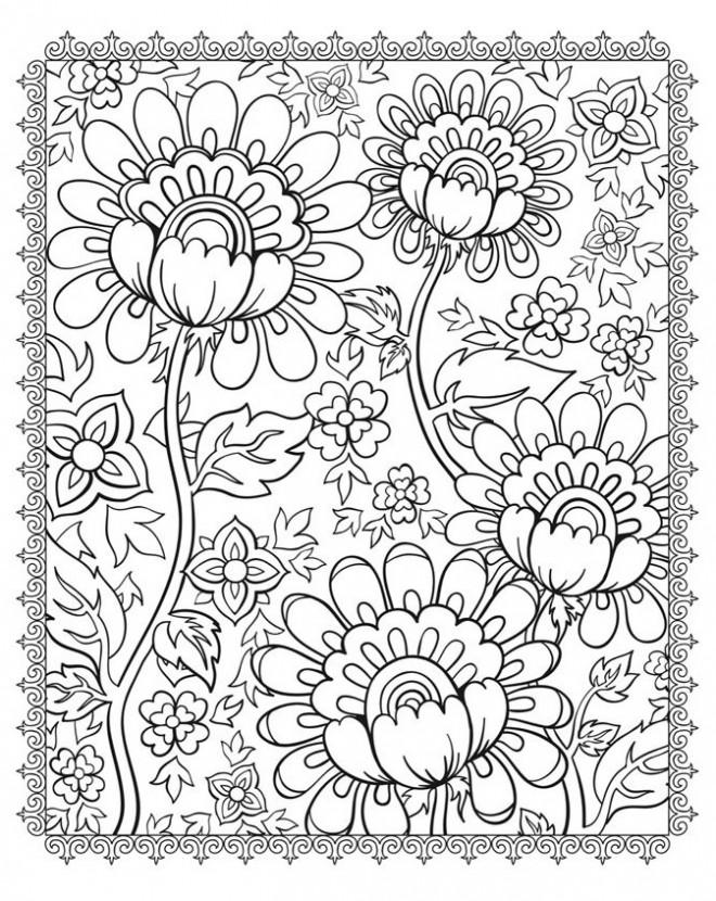 Coloriage et dessins gratuits Adulte Belles Fleurs à imprimer