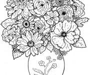 Coloriage et dessins gratuit Adulte Fleurs dans Une vase à imprimer