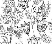 Coloriage et dessins gratuit Adulte Fleurs Lotus et Oiseaux à imprimer