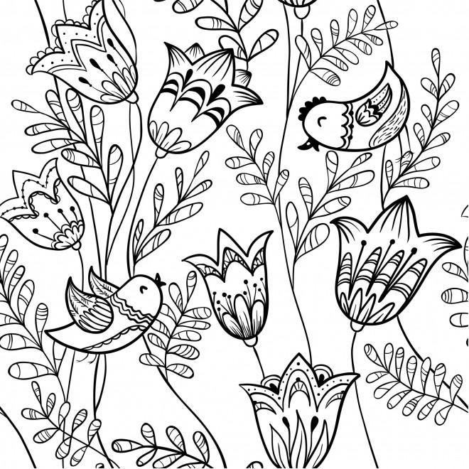Coloriage et dessins gratuits Adulte Fleurs Lotus et Oiseaux à imprimer