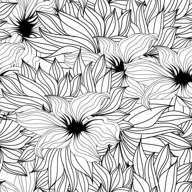 Coloriage et dessins gratuits Adulte Fleurs par tout à imprimer