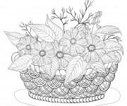 Coloriage et dessins gratuit Adulte Panier de Fleurs à imprimer