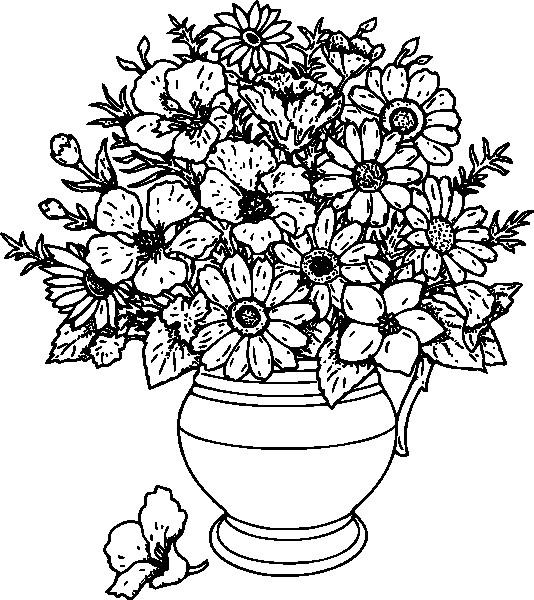 Coloriage et dessins gratuits Des Fleurs Adultes dans Un Vase à imprimer
