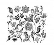 Coloriage Différentes Fleurs art