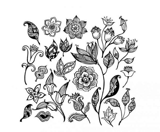 Coloriage et dessins gratuits Différentes Fleurs art à imprimer