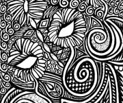 Coloriage et dessins gratuit Fleurs Adulte en noir à imprimer