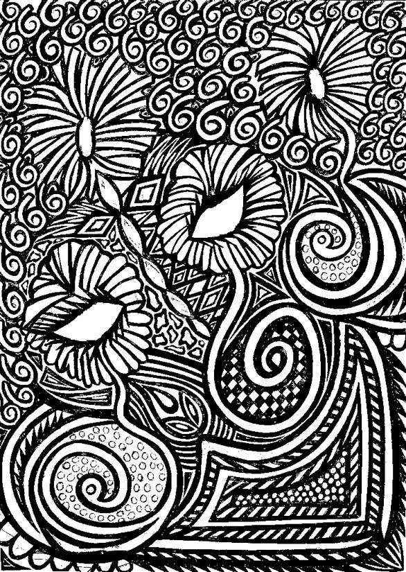 Coloriage et dessins gratuits Fleurs Adulte en noir à imprimer